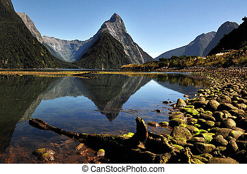 New Zealand Fiordland - Mitre Peak in Fiordland National...