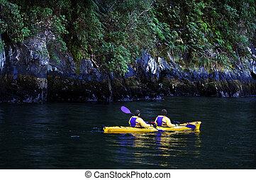 New Zealand Fiordland - Canoeing on Fiordland national park...