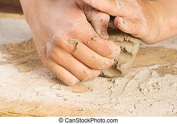子供, 陶工, 手