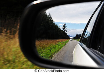 New Zealand South Island - Mirror view from a car on a road...