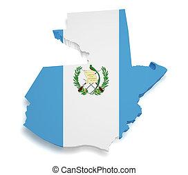 guatemala, mapa, 3D, forma