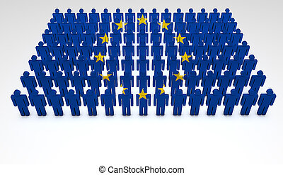 European Union Parade - Eu concept. Parade of 3d people...