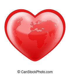 Heart Shaped World - Planet Earth in the shape of a heart.