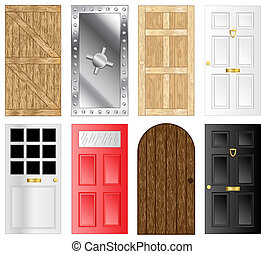 Doors - Metal and wooden door and gate illustrations