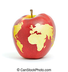 World apple - Red apple world map on white background.