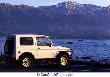 Sea View of South Island, New Zealand - 4x4 vechicle and...