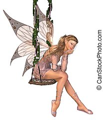 Pretty Pink Fairy Daydreaming - Pretty blonde fairy with...