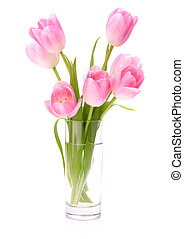 Pink tulips bouquet in vase isolated on white background -...