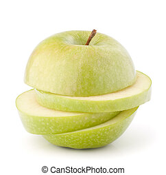 apple green sliced - Green sliced apple isolated on white...
