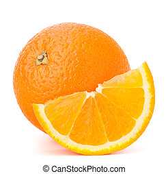 Whole orange fruit and his segment or cantle isolated on...
