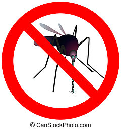 Prohibitory road sign with mosquito