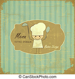 Vintage Menu Card Design with chef in Retro Style - vector...