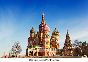 St. Basil's Cathedral in Moscow against the blue sky in a sunny day