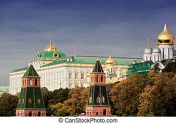 View of towers of the Moscow Kremlin in the autumn