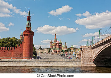 Beautiful view of the Kremlin and St. Basil's Cathedral in Moscow from the embankment