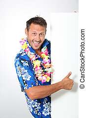 Man with hawaiian shirt on white background
