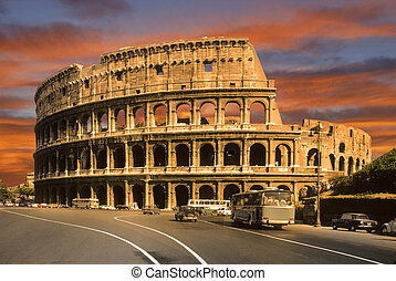 roman colosseum in Rome, Italy at sunset