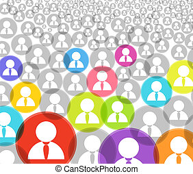 Extracto, multitud, social, medios, Cuenta, iconos
