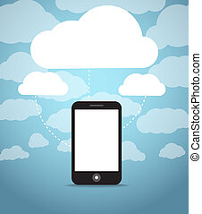 Abstract style modern phone with media clouds
