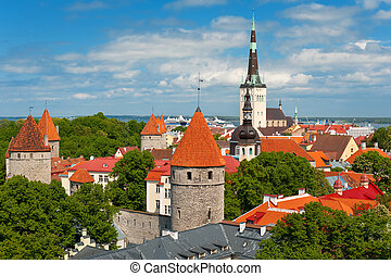 Old City of Tallin in summer - Panoramic view on the Old...