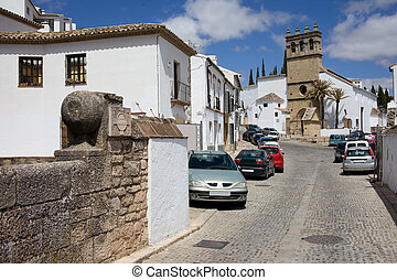 Calle Real in Ronda - Calle Real street in Ronda town,...