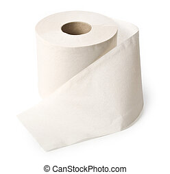 roll of toilet paper - single roll of white rolled toilet...