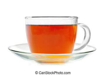 Glass cup tea isolated on a white background