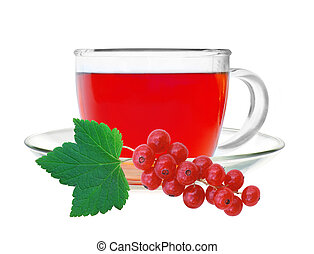 Glass cup tea with fresh currant isolated on a white...