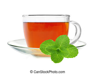 Glass cup tea with fresh mint isolated on a white background