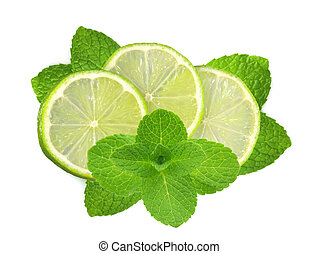 fresh slices lime with leaf mint isolated on white...