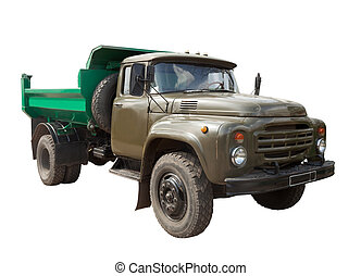 Vintage Soviet military truck Isolated over white background...