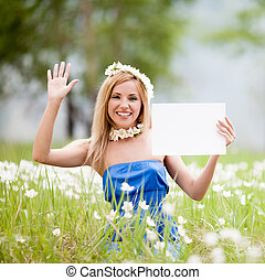 woman with tablet - beautiful young woman with tablet in...