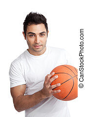 Young Man Portrait Holding Basketball - Portrait of young...