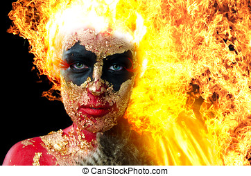 Girl on fire - Manipulated image of girl in heavy demon...
