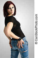 Beautiful woman with hands on hips - A beautiful woman with...
