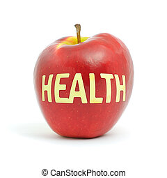 """Health and apple - word """"Health"""" cut out on a red apple"""