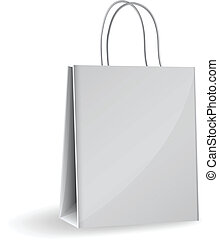 paper bag - Vector illustration of gray paper bag