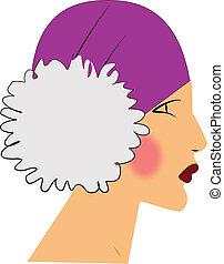 profile of flapper lady - forties era woman profile in...