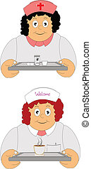 nurse and waitress - clip art of nurse and waitress with...