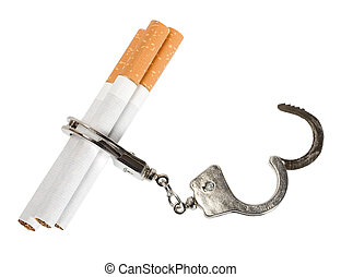 Smoking manacles dependency - Cigarette isolated on white...