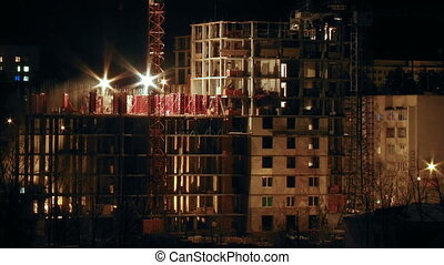 Construction site in the night timelapse
