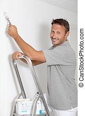 hombre, Pintura, paredes, blanco