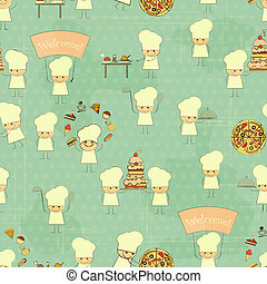 Seamless Food Background with Fun Chefs in Retro Style -...
