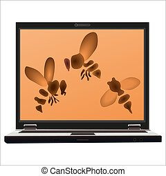 Three bees on the screen of the notebook