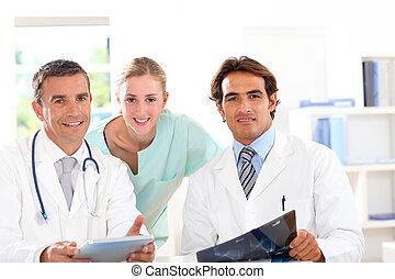 médico, gente, trabajo, reunión