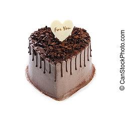 Heart Shaped Cake on white background
