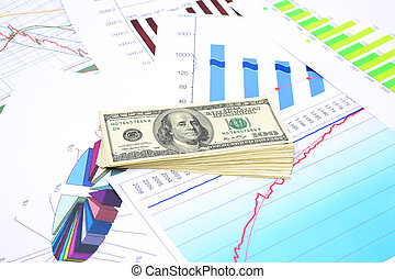 Investment plan - Bundle of dollars above diagram and chart...