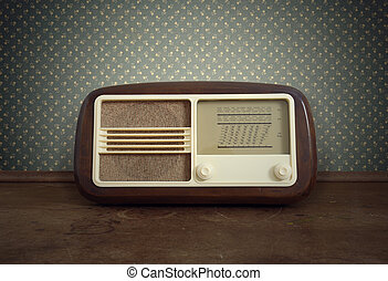 vintage radio - antique radio on vintage background