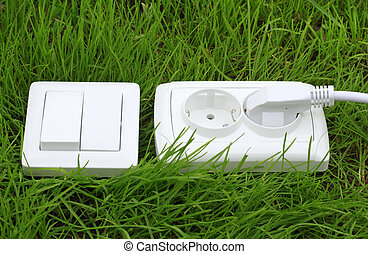 power receptacle and light switch on a green grass -...