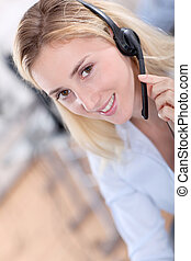 Portrait of beautiful customer service woman